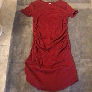 Ruched fitted short sleeve mini dress